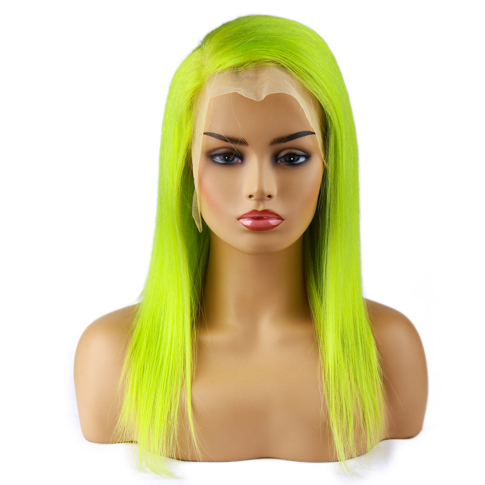 NeonGreen Bob Wig Frontal Lace 100% Virgin Human Hair