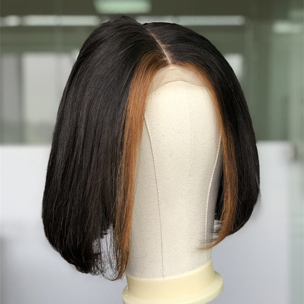 Fashion Trend Brown Highlight Bob Wig Virgin Human Hair