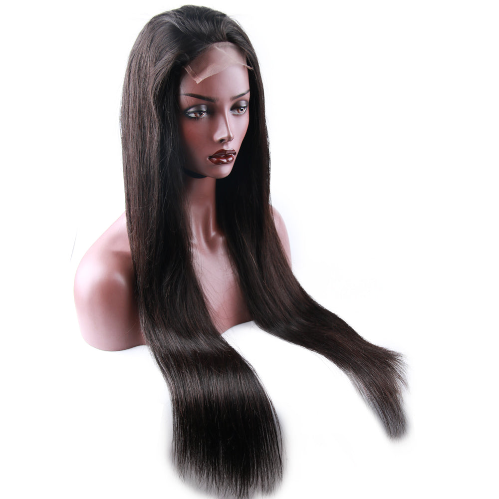 Closure Wig Virgin Human Hair Silky Straight