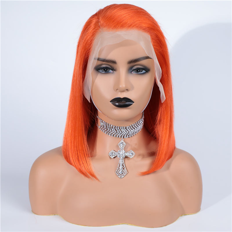 Orange Bob Wig Frontal Lace 100% Virgin Human Hair