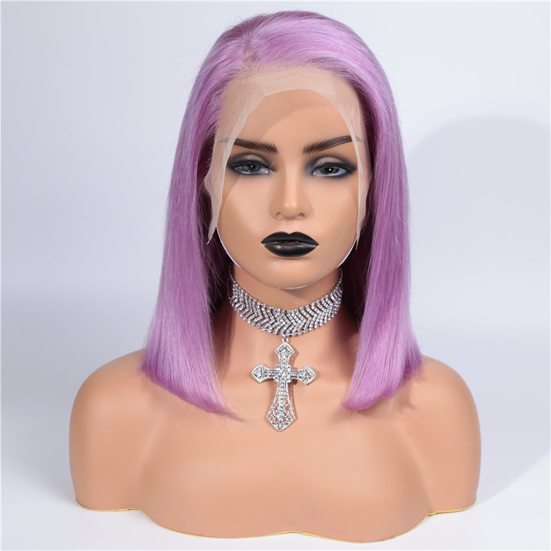 Purple Grey Bob Wig Frontal Lace 100% Virgin Human Hair