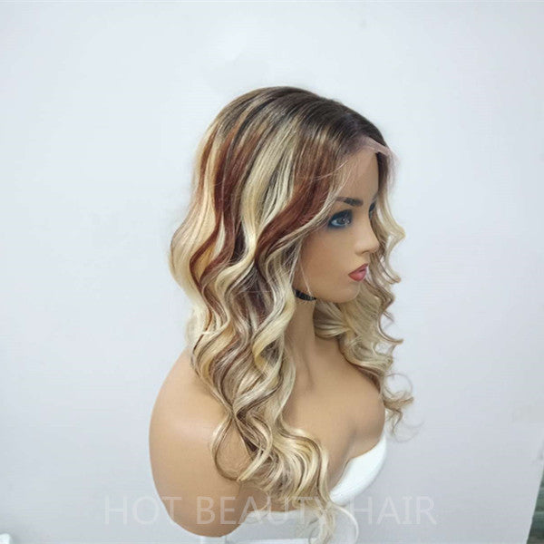 Frontal Wig 100% Virgin Human Wavy Blonde Mix Color