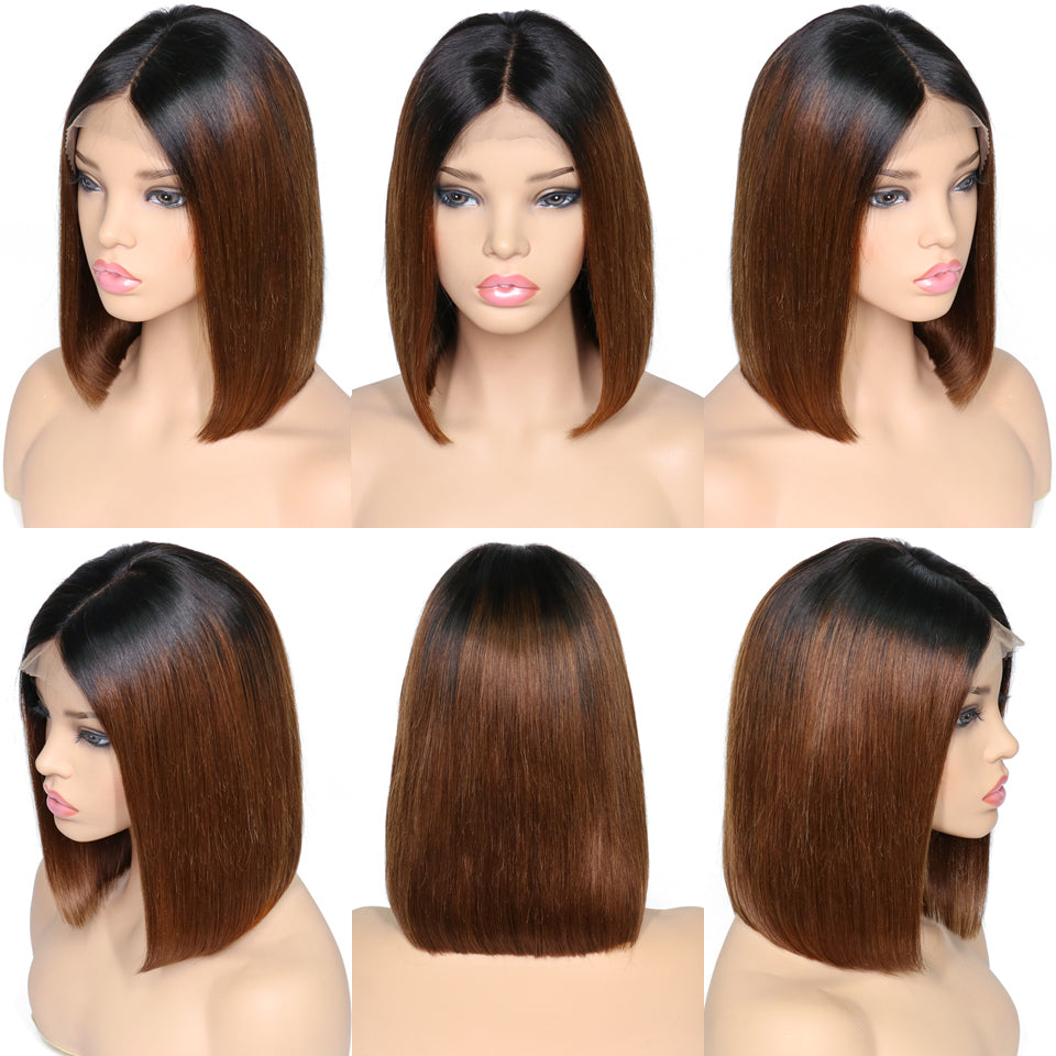 1B/Brown Bob Wig Virgin Human Hair With Various Color