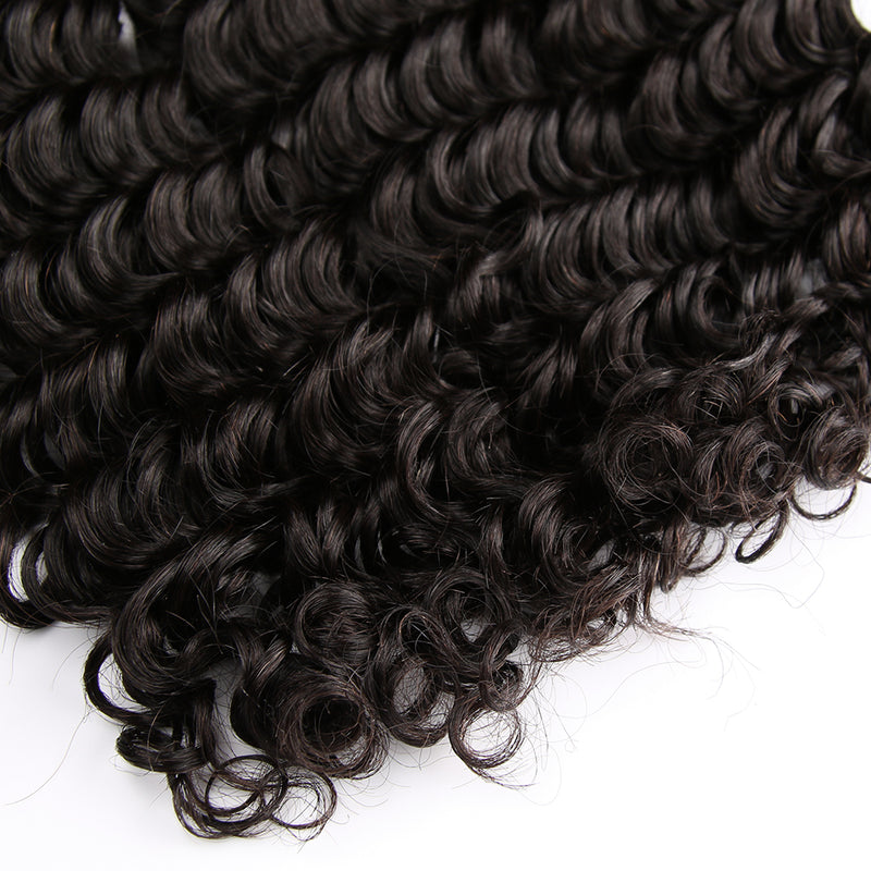 3 Bundles Deal With Closure Peruvian Virgin Hair Deep Curl