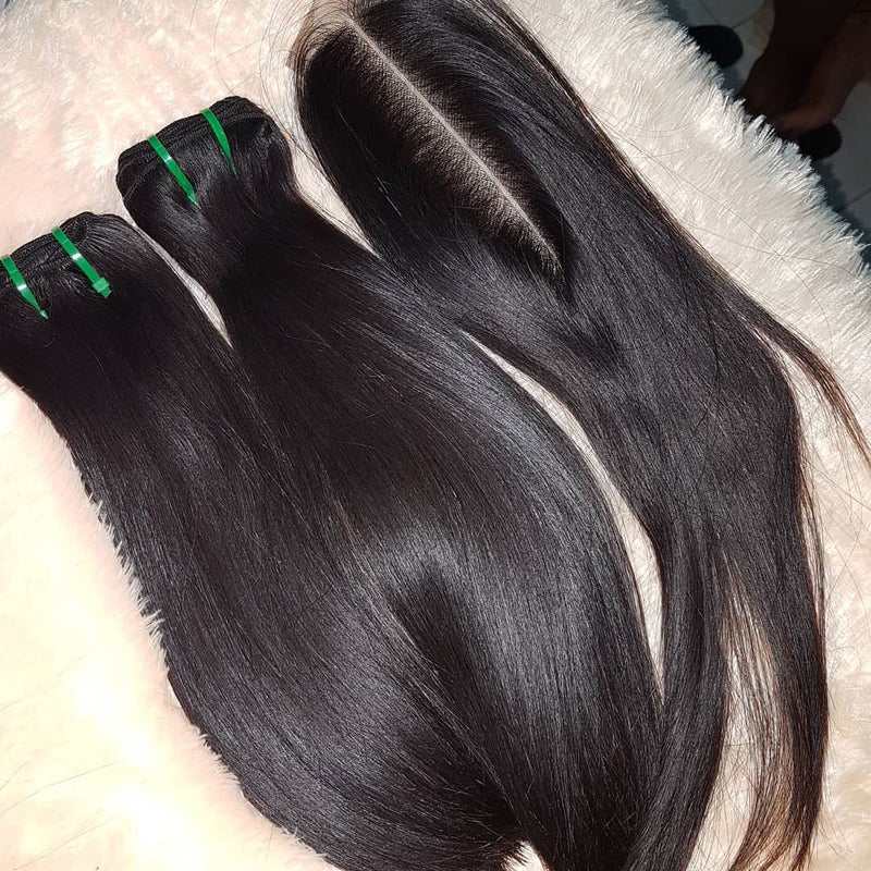 2 Bundles Deal Super Double Drawn Straight With 2*6 Deep Part Closure