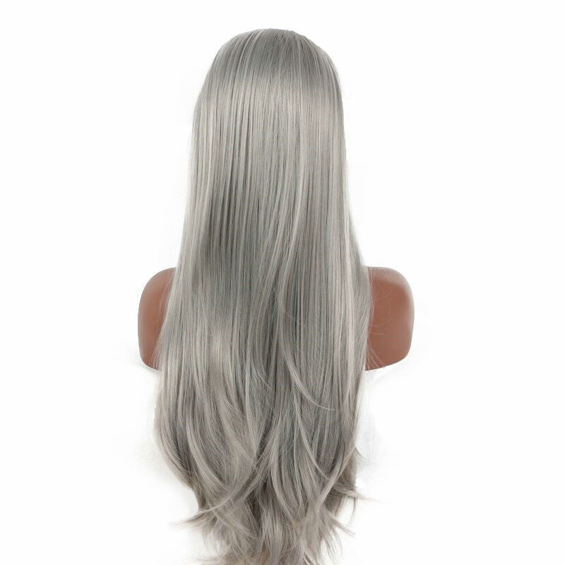 Ash Grey Frontal Wig 100% Virgin Human Hair Wig Straight