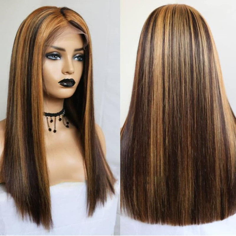Brown Highlight Frontal Wig 100% Virgin Human Hair Wig Straight