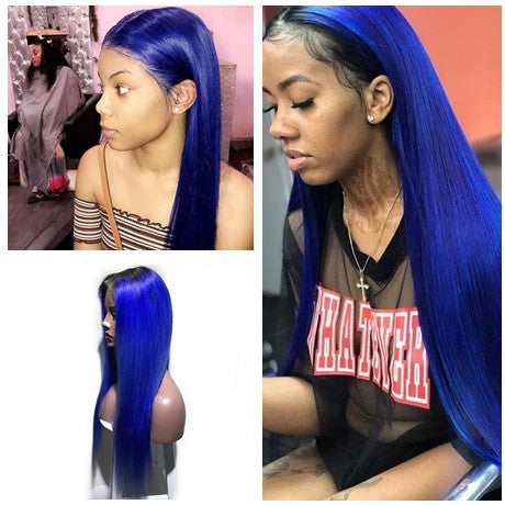 1b/ Blue Closure Wig 100% Virgin Human Hair Straight