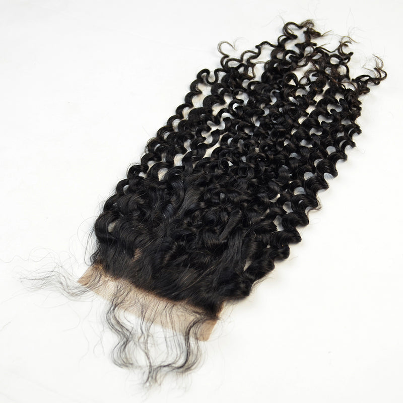 3 Bundles Deal With Closure Peruvian Virgin Hair Kinky Curl