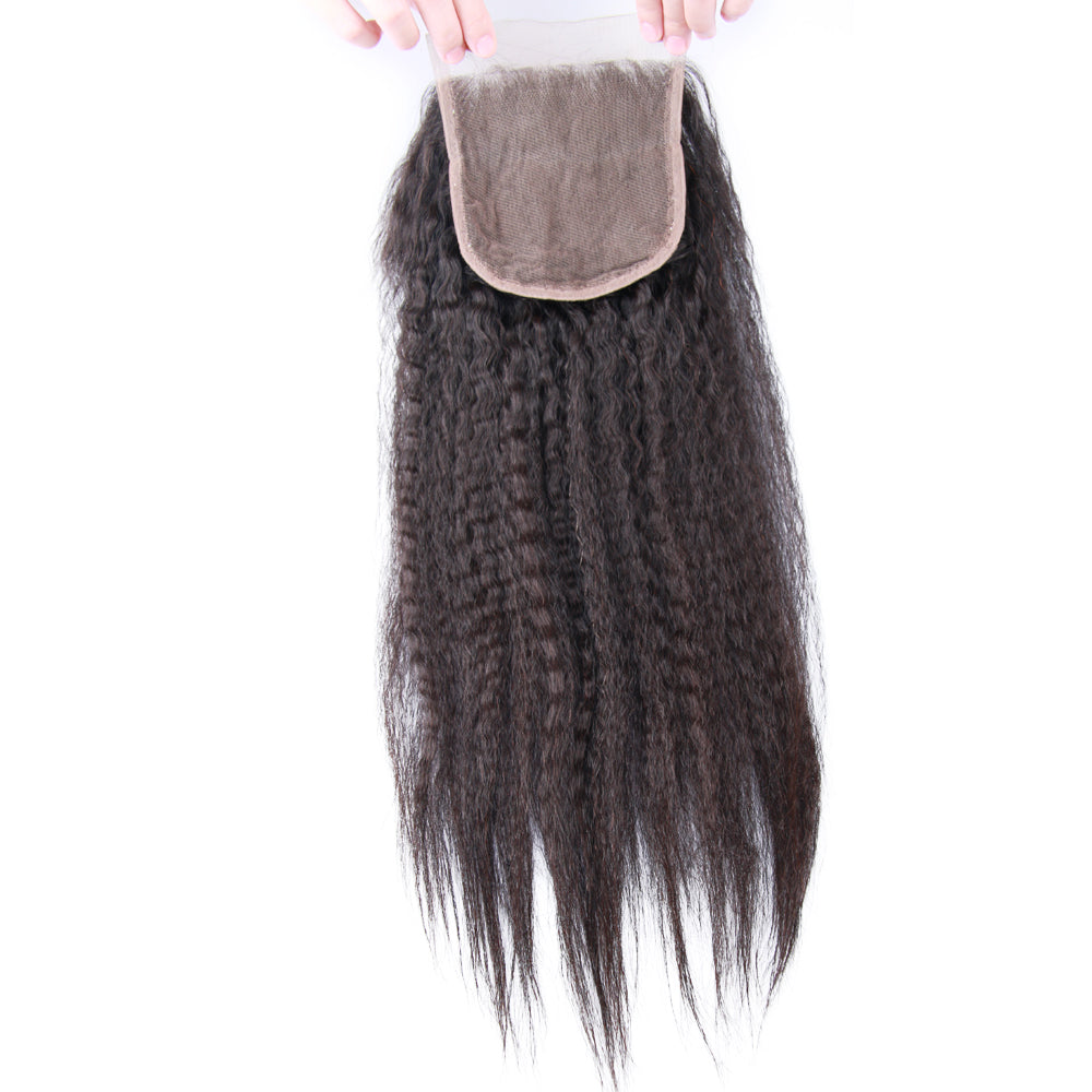 4*4 Top Lace Closure Kinky Straight Brazilian virgin hair