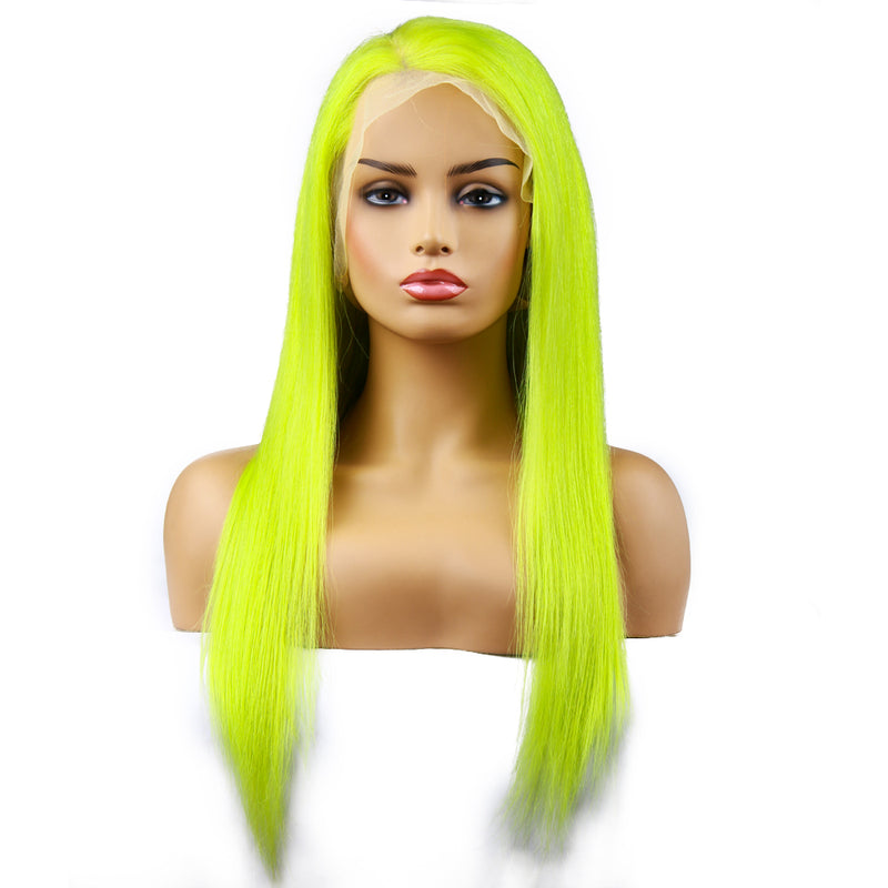 Specal Sale -LimeGreen Frontal Wig 100% Virgin Human Hair Wig Straight