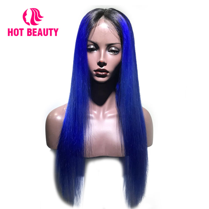 Closure Wig Virgin Human Hair Straight 1b/ blue