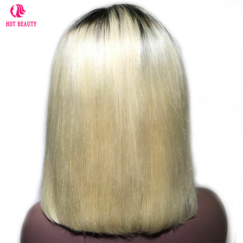 Closure Wig Virgin Human Hair Bob Wig 1b/613