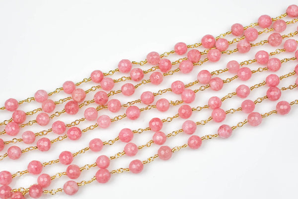 Blush Wrapped Beaded - 6mm Gold Style Chain - Chain per foot