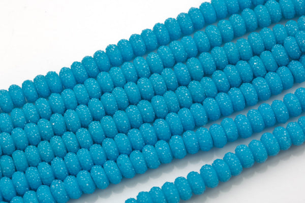 6mm 8mm 10mm Roundel Micro Pave In half strands- Baby Blue