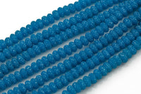 6mm 8mm 10mm Roundel Micro Pave In half strands- Azure Blue