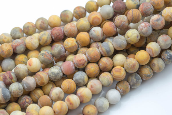 "LARGE-HOLE beads!!! 8mm or 10mm Matte-finished round. 2mm hole. 8"" strands. Mexican Crazy Lace Agate. Big Hole Beads"
