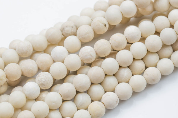 "LARGE-HOLE beads!!! 8mm or 10mm Matte-finished round. 2mm hole. 8"" strands. Matt Fossil Coral. Big Hole Beads"
