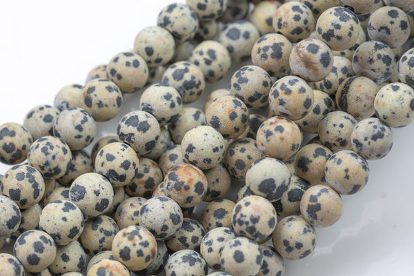 "LARGE-HOLE beads!!! 8mm or 10mm . 2mm hole. 8"" strands. Matt-finished Tan Dalmation Jasper. Big Hole Beads"