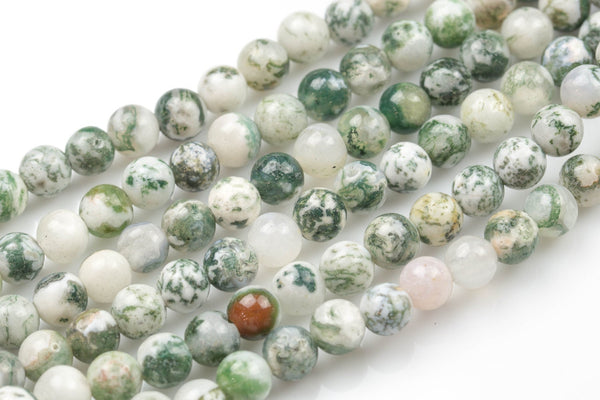 "LARGE-HOLE beads!!! 8mm or 10mm smooth-finished round. 2mm hole. 8"" strands. Smooth Ocean Agate. Big Hole Beads"