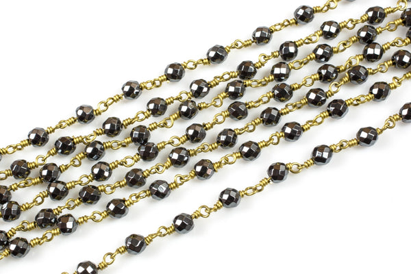 CLOSE OUT SALE!!! 1 Yard / 3 Feet !!! 6mm or 8mm Hematite Rosary Chain- Brass Wire - Rosary Style Chain