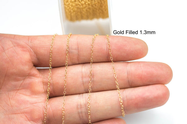 1.3mm Gold-filled Chain 3 feet or 20 feet - High quality gold filled Flat CHAIN