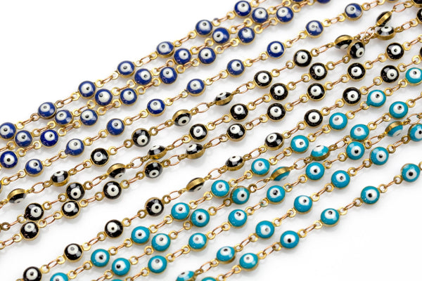 Evil Eye Coin Chain Brass in Enamel- 5mm, 6mm - By The Yard / 3 Feet