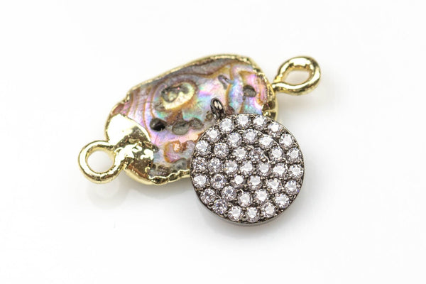 Coin CZ Gold, Gunmetal, Silver Pave Small Charm 10mm