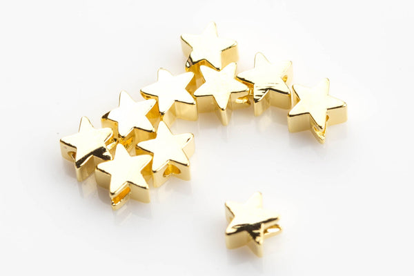 6mm 8mm Gold Plated Star SOLID BRASS Bead- 10 pieces per Order