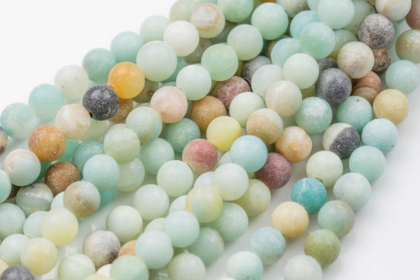 "LARGE-HOLE beads!!! 8mm or 10mm Matte-finished round. 2mm hole. 8"" strands. Matt Amazonite. Big Hole Beads"