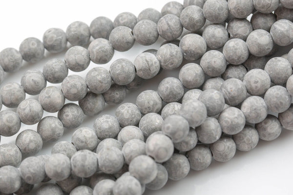 "LARGE-HOLE beads!!! 8mm or 10mm Matt-finished Gray Silver-Mai Jasper. 2mm hole. 8"" strands. Big Hole Beads"