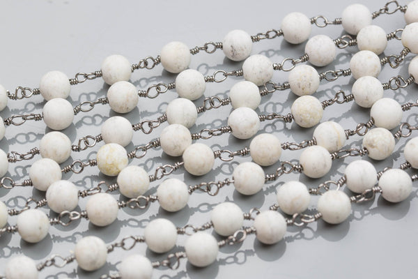 White Turquoise Rosary Chain-- High Quality 8mm round Matt-- Gun Metal Plated Brass