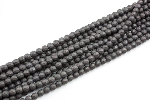 Gunmetal Matt Hematite Faceted Round 3mm, 4mm, 6mm, 8mm, 10mm AAA Quality