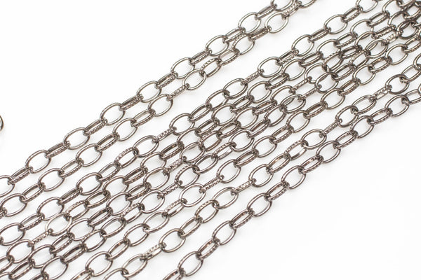 Texturized Oval Round Steel Chain.  Nice and Heavy. Gunmetal, Gold, and Dark Silver Plated