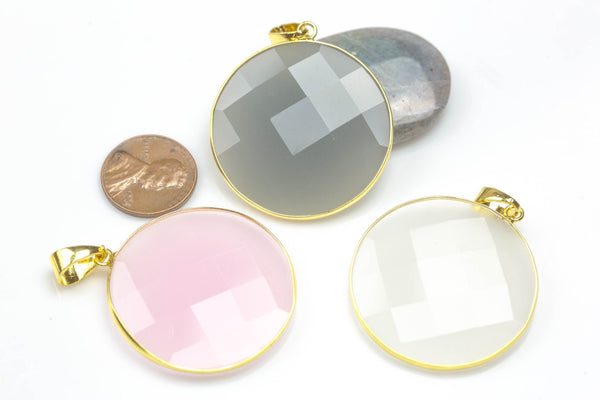 Crystal Coin Pendants- 36mm- Gold Bezzel