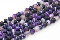 Purple Matt Banded Gray Agate, High Quality in Matt/Matte Round, 6mm, 8mm, 10mm