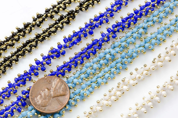 Cluster Seed Beads Chain- Gold Plated Brass- By THE YARD