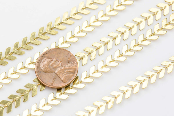 Feather Chevron Chain Brass or Gold Plated. By THE YARD