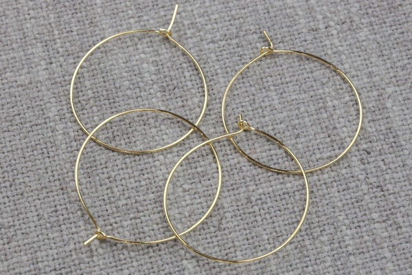 Earring Finding Ear Wires Loops Beading Hoop- High Quality Real Gold Plating, Gunmetal or Brass-Plated Brass 20mm,25mm,34mm or 45mm-24 Gauge