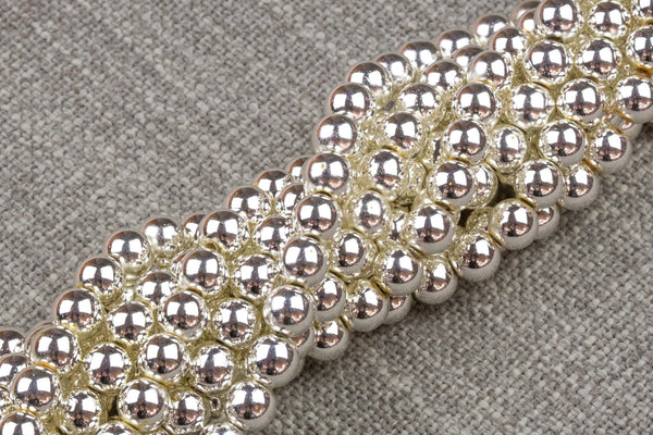 Silver COLOR Hematite Smooth Round- 2mm,3mm,4mm, 6mm, 8mm, 10mm- Full 15.5 Inch Strand - Very high quality silver plating / coating