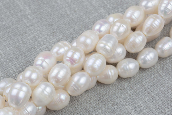 11x14mm Large Hole Freshwater Patatoe Pearl, 8 Inch Strand Big Hole Beads