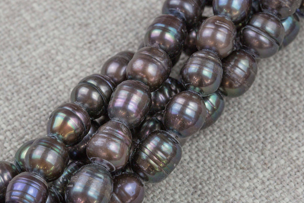 10*12mm Large Hole Freshwater Dark Peacock Pearl, 8 Inch Strand Big Hole Beads
