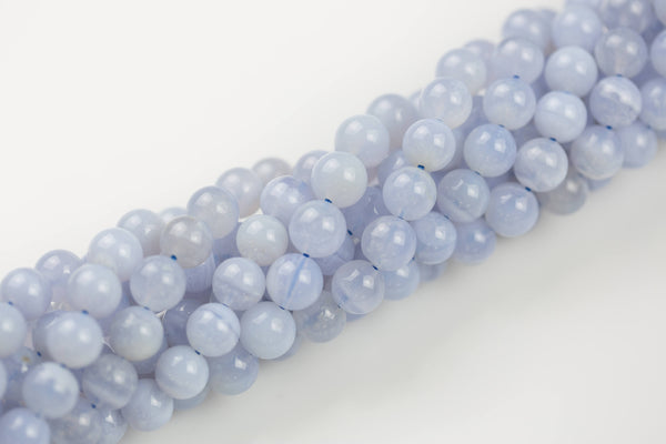 NATURAL Blue Laced Agate Smooth Round 6mm, 8mm, 10mm Full Strand- Ab Quality -Full Strand 15.5 inch Strand- Wholesale Pricing