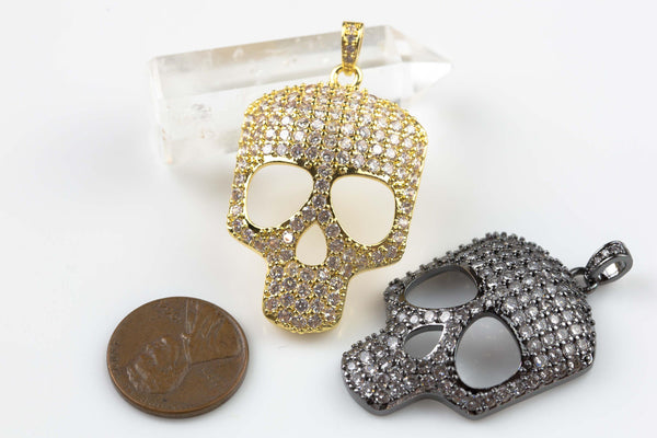 Etsy Exclusive- Skull 25*34mm CZ Pave 34mm Pendant