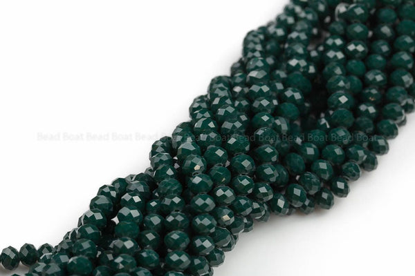 8mm Crystal Rondelle -2 or 5 or 10 STRANDS- Emerald Green