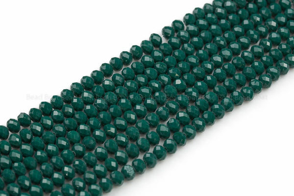 8mm Crystal Rondelle - 2 or 5 or 10 STRANDS- Teal Green