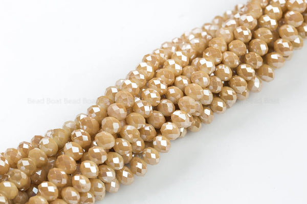 8mm Crystal Rondelle -2 or 5 or 10 STRANDS- Mystic Dark Tan