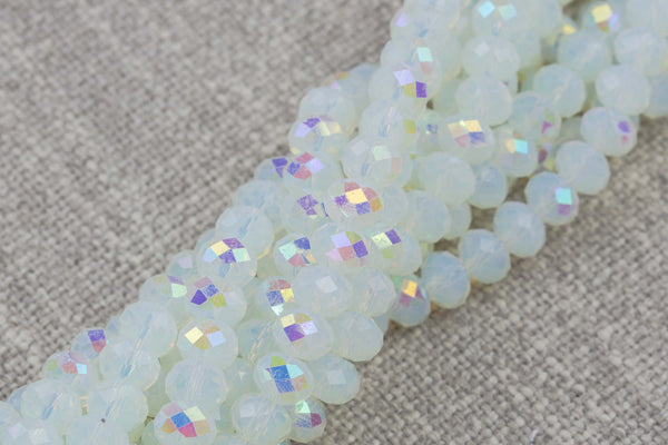 4mm 6mm 8mm 10mm - Milky Opal AB Rondelle-5 or 10 STRAND