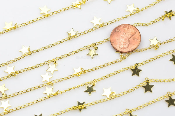 Star Drop Chain Gold Plated Brass Stardrop Chain. High Quality 18/24 Karat Gold Plating. By THE YARD