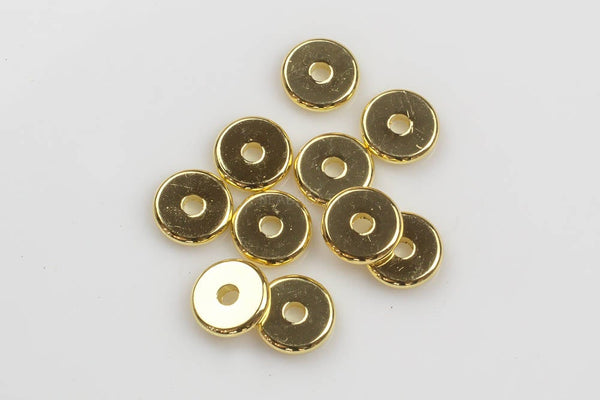 SOLID High Quality Gold Plated BRASS Flat Roundel Beads-6mm 8mm and 10mm